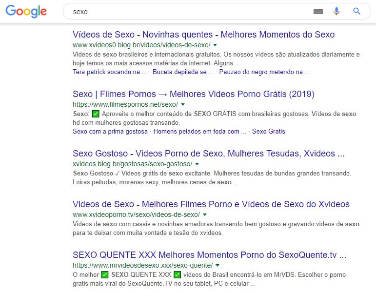 Busca Protegida Inativo > Pesquisa Google > Sexo > Web