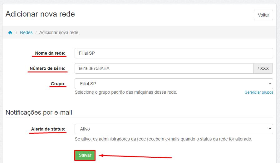 Dashboard - Administrar - Redes - Nova Rede - Salvar