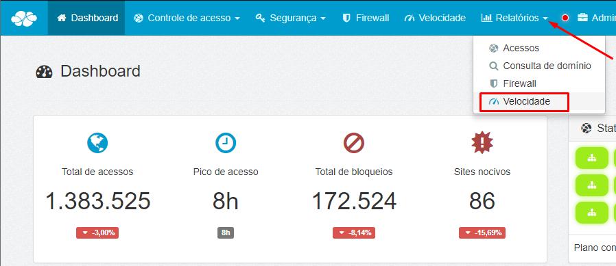 Dashboard > Menu > Relatórios > Velocidade