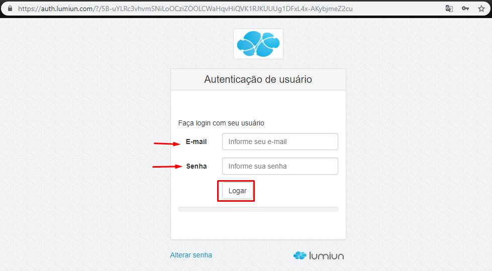 Login - Senha - Lumiun - Administrar - Grupos - Novo Grupo - Configurando - Grupo Criado - Fila de Configuração - Tela de Autenticação
