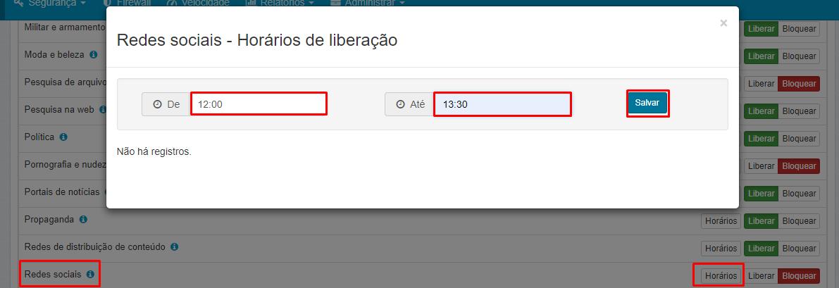 Login - Senha - Lumiun - Controle de Acesso - Categorias de Sites - Redes Sociais - Horarios - Definindo