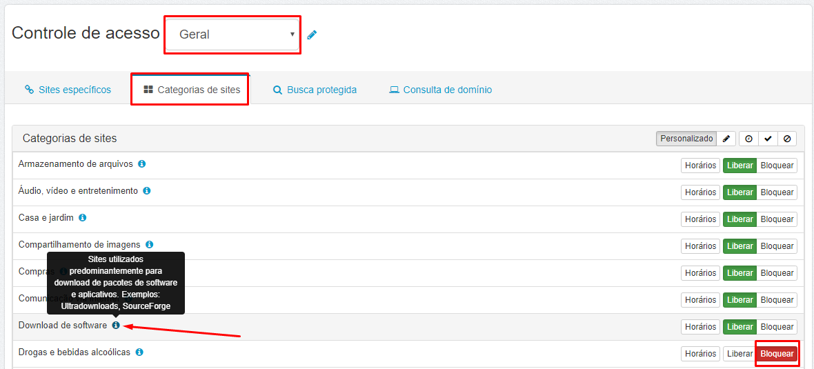 Login - Senha - Lumiun - Controle de Acesso - Categorias de Sites