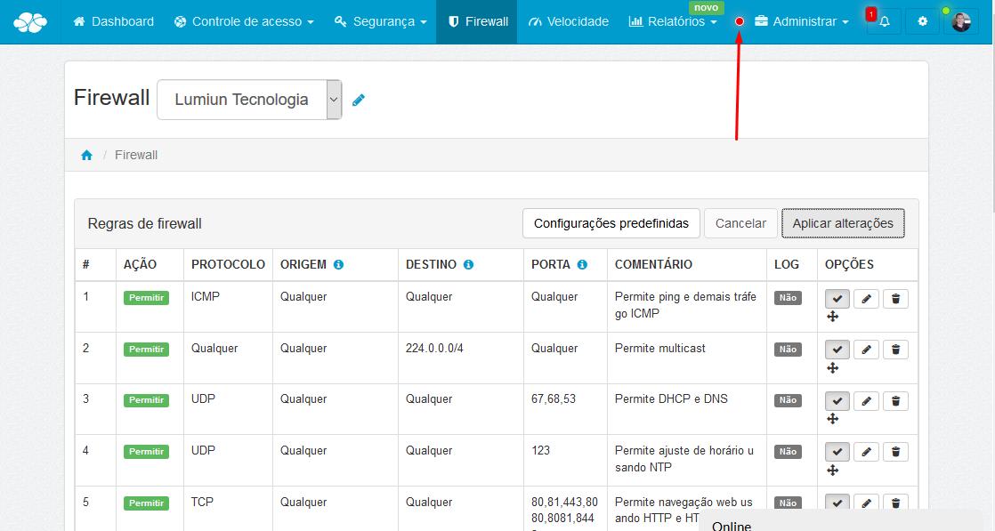 Lumiun - Dashboard - Firewall - Rede - Regras Predefinidas em Uso - Botão Nova Regra - Criar Nova Regra - Regra Criada - Mover - Aplicar Alterações - Ok