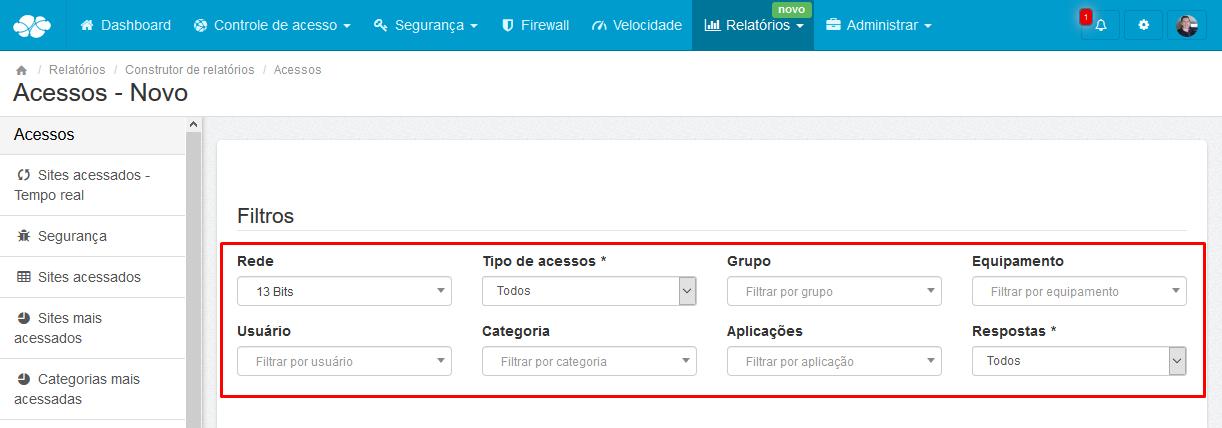 Lumiun - Dashboard - Relatorios - Relatorios 2.0 - Construtor de Relatorios - Acessos - Criar Novo - Filtros