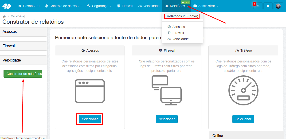Lumiun - Dashboard - Relatorios - Relatorios 2.0 - Construtor de Relatorios - Acessos