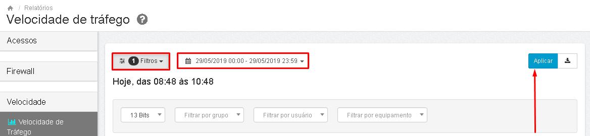 Lumiun - Dashboard - Relatorios - Relatorios 2.0 - Volume de Trafego - Filtros - Periodo - Aplicar Atualizada