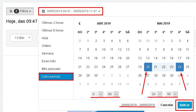 Lumiun - Dashboard - Relatorios - Relatorios 2.0 - Volume de Trafego - Filtros - Periodo Atualizado