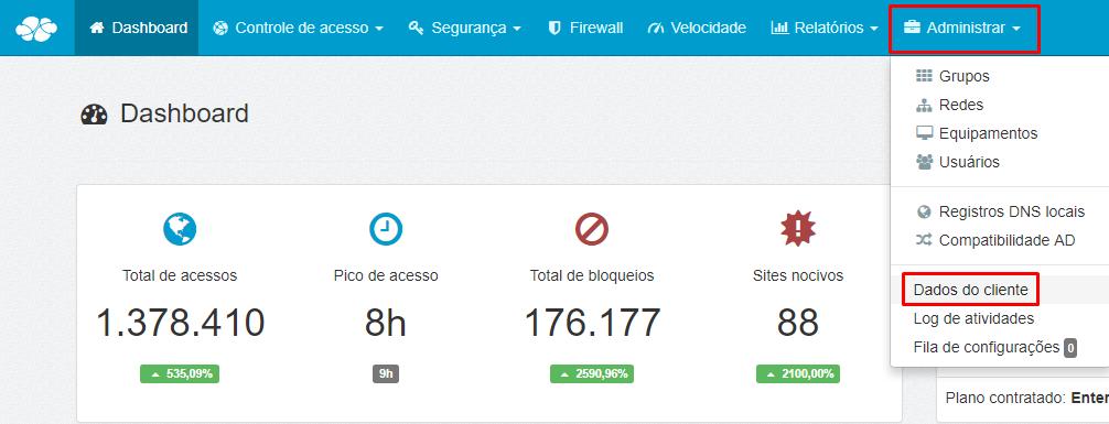 Menu > Administrar > Dados do Cliente