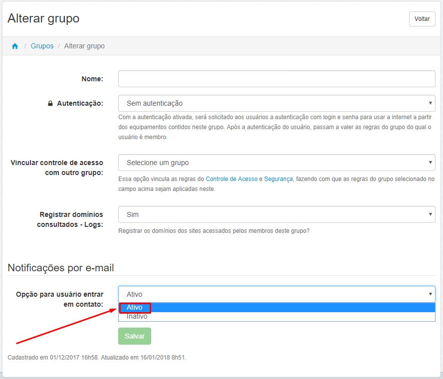 Menu > Administrar > Grupos > Editar Grupo > Opção para usuário entrar em contato