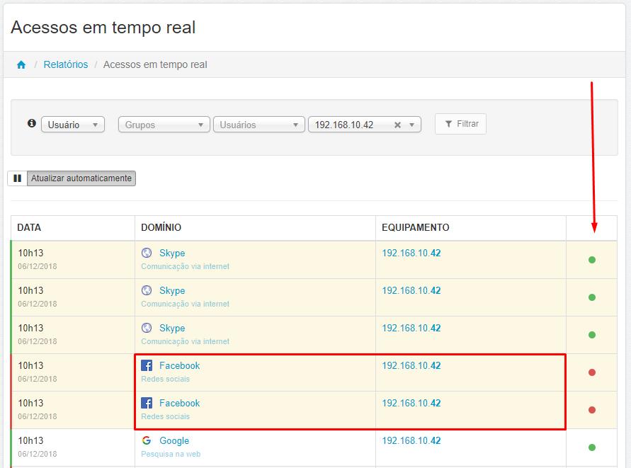 Menu > Relatórios > Acessos > Acessos em Tempo Real > Selecionar > Usuário > Equipamento > Filtrado