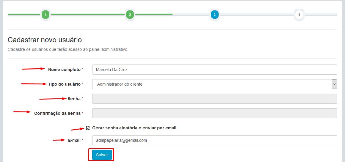 Parceiro - Login - Painel - Novo Cliente - Cadastrado - Login no Cliente - Nova Rede - Serial - Proximo Passo - Novo Usuario - Salvar