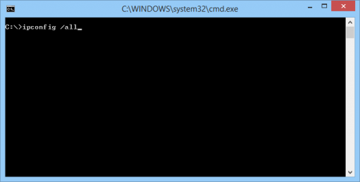 Prompt de comando do Windows com comando ipconfig/all