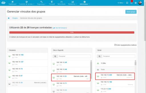 administrar - grupos - duas interfaces de rede ativas
