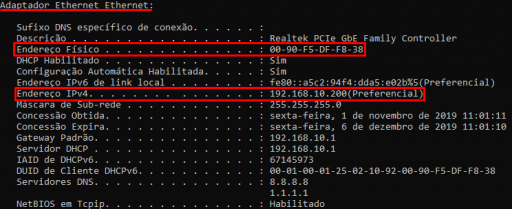 MAC e IP - Rede Local (cabo)